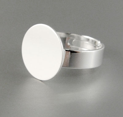 Anillo Adaptable Disco 14mm - Baño de Plata