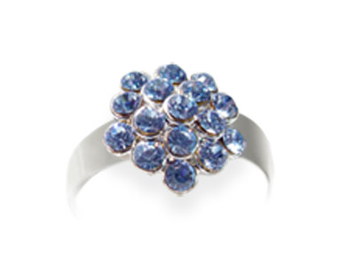 Anillo Adaptable Strass Redondo Azul