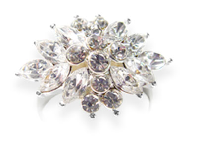 Anillo Adaptable Strass Flor Ovalada Gde.