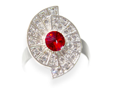 Anillo Adaptable Strass Rojo con Circulos