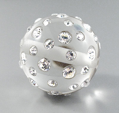 Cuenta Bola 25mm Metacrilato transparente con Brillantes Strass